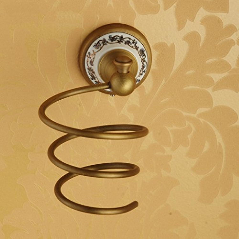 すべての銅ヘアドライヤーブラケット、壁に取り付けられた青と白の磁器、バスルームヘアドライヤーラック、バスルームアクセサリー、理髪店、ホテル、シャワールームなどに適しています。