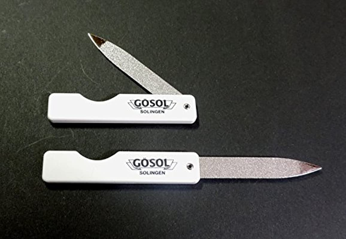 犯人たくさんのはしごゲーゾル(独) GOSOL ポケット爪ヤスリ(折込式、サファイヤ) 白柄2個組