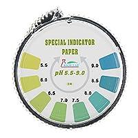Queenwind 精度 PH 試験ストリップロール短距離 5.5-9.0 インジケータペーパーテスターディスペンサーカラーチャート 5m/16.4 ft