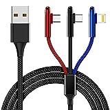 CAFELE ライトニングケーブル Micro USBケーブル Type-Cケーブル 3in1充電ケーブル iOS/Android 同時給電可能 高速データ転送(iosのみ) ナイロン編み iPhone/Galaxy/Huawei/Macbook等全機種対応 1.2m ブラック