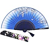 """Amajiji 8.27"""" Beautiful Hand-Crafted Chinese Japanese Hand held Folding Fan with First-Class Bamboo Spins and Traditonal Silk Fabrics HBSY (007)"""