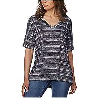 Calvin Klein Jeans Women's V-Neck Stripe Short Sleeve Tee Knitted T-Shirt