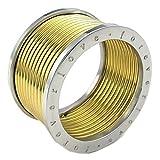 KONOV ジュエリー ファッション アクセサリー メンズ リング 指輪, クラシック ワイド 幅広 Forever Love, ステンレス, カラー:ゴールド(金); シルバー(銀);[ギフトバッグを提供] - [19号]