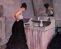 ¥5K-200k 手書き-キャンバスの油絵 - 美術大学の先生直筆 - Woman at a Dressing Table Gustave Caillebotte 絵画 洋画 複製画 ウォールアートデコレーション -サイズ18