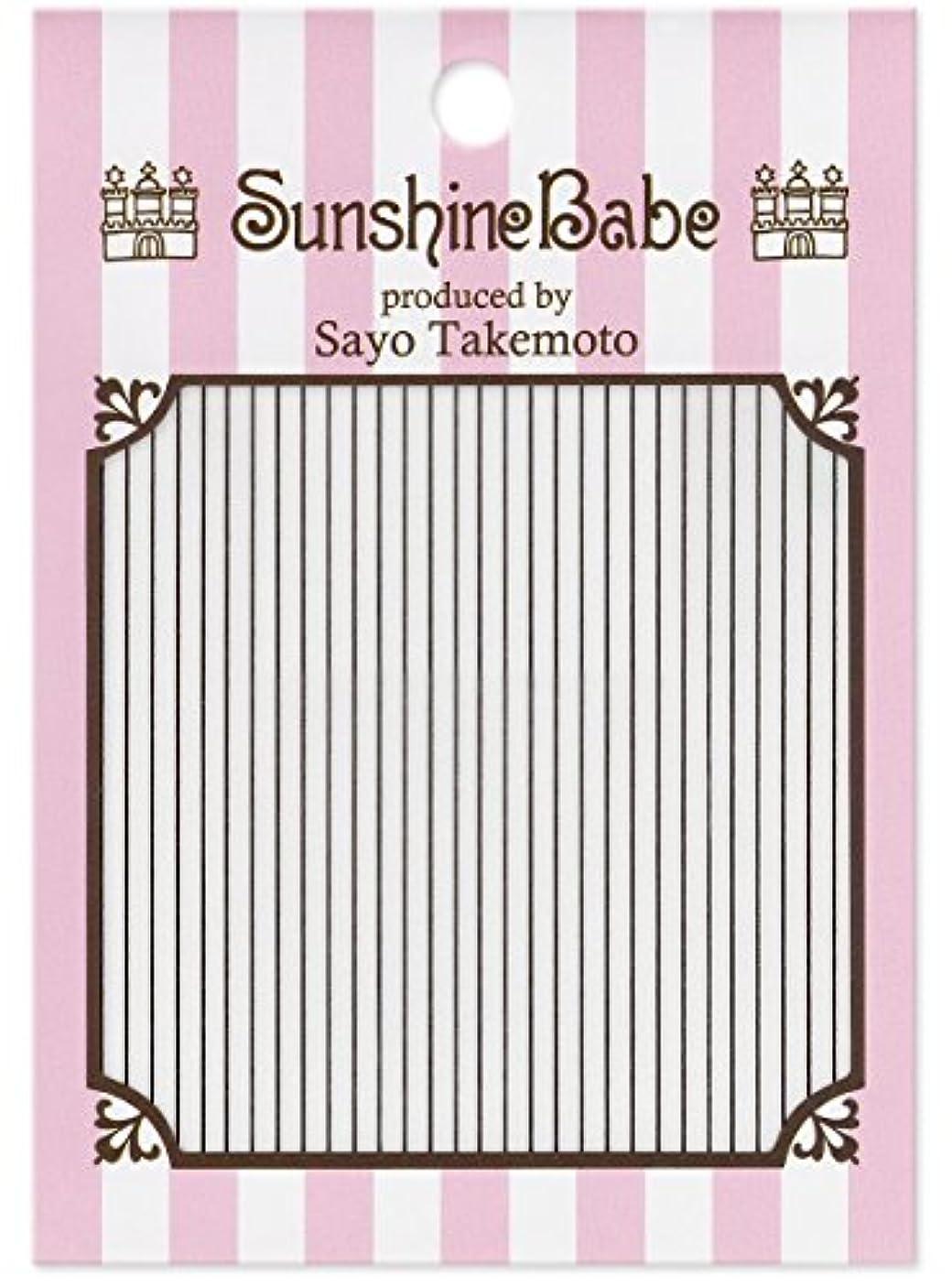 内側品舌なサンシャインベビー ジェルネイル 武本小夜のネイルシール Sayo Style ライン ブラック