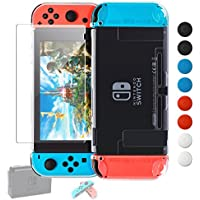 FYOUNG Nintendo Switch用カバー Joy-Con用ソフトカバー 強化ガラス保護フィルム ドックにサポート ガラス飛散防止/指紋防止/気泡ゼロ/耐衝撃/着脱簡単/ブルーライトカット/アンチグレア (TPU透明)