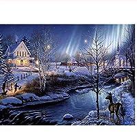 5D冬の夜の家Diy風景ダイヤモンド塗装フルドリルクロスステッチキット大人用ラインストーン刺繍モザイクアート、40x50cm