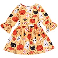 SEVEN YOUNG Toddler Baby Girls Pumpkin Long Sleeve Dress Bell Sleeve Ruffle Tutu Skirt Set Outfit Halloween Autumn Clothes