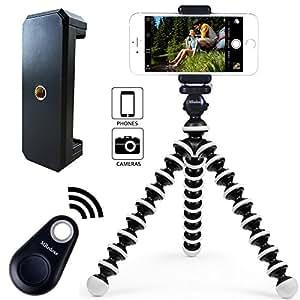 MRedoxe フレキシブル ミニ三脚 Bluetooth リモコン付き スマホ 三脚 自撮り 360度回転 スマホホルダー iPhone/Android/一眼レフ/デジカメ/ビデオ カメラ 通用 (白)
