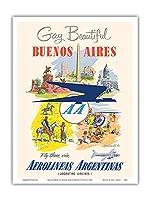 おかしいと美しいです - ブエノスアイレス、アルゼンチン - アルゼンチン航空を経由してそこに飛びます - アルゼンチン航空を経由してそこに飛びます - ダグラスDC-6輸送航空機 - ビンテージな航空会社のポスター によって作成された アドルフ・トレイドラーc.1950s - アートポスター - 23cm x 31cm