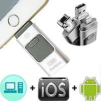 SEEYO【アップグレード版】iPhoneのUSBフラッシュドライブコンピュータのiPhoneアプリのiPodやAndroidの携帯電話のタブレットのiフラッシュU-ディスクフラッシュメモリスティック(16GB)