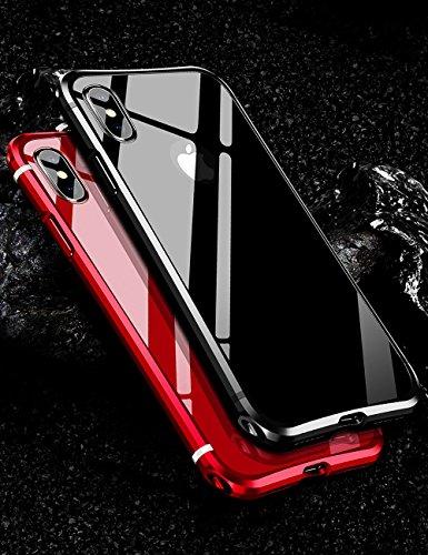 iPhone X メタルバンパー uovon 高品質アルミ製フレーム+バックプレート スクラッチ保護 アイフォンx カバー オシャレデザイン 最高レベル耐衝撃 ケース ガラスフィルム付き (iPhone X, ブラック)