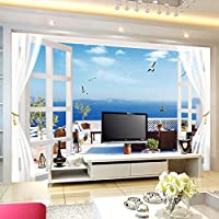 Wapel 3D 立体ベッドルーム、背景、壁紙、大規模のシームレスな空間は、海、ブルースカイ 200 X 140 cm 拡大