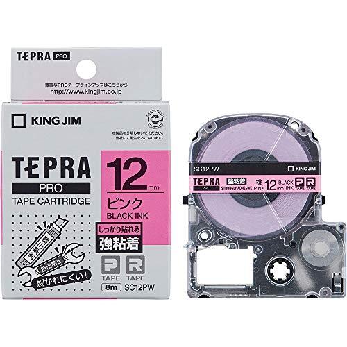 キングジム テプラ PROテープ 強粘着 12mm ピンクラベル(黒文字) 1個 SC12PW