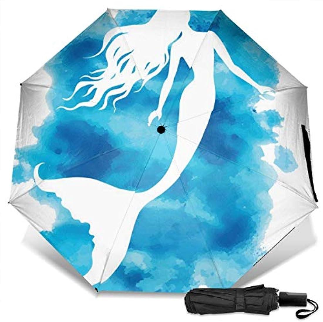 コンパス指定模索海の装飾の水彩美人魚折りたたみ傘 軽量 手動三つ折り傘 日傘 耐風撥水 晴雨兼用 遮光遮熱 紫外線対策 携帯用かさ 出張旅行通勤 女性と男性用 (黒ゴム)