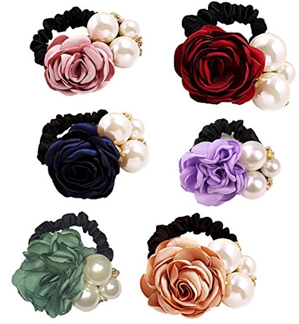古風な花束名義で(ミニマリ) minimali シュシュ おしゃれ 薔薇 パール ヘアゴム 花 フラワー 結婚式 髪飾り コサージュ ヘアアクセ
