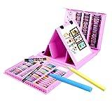 MFS 176ピース 両面 三つ折りイーゼル キッズアートセット プラスチックケース ピンク ドローイングギフトボックス 女の子へのプレゼントに最適
