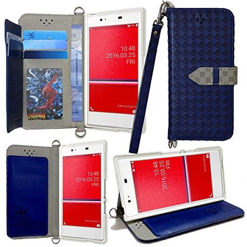 AU Qua phone KYV37 ケース 手帳型 カバー 手帳型 【GTO】お洒落な2トーンカラー オリジナルハンドストラップ付2点セット PUレザー&高品質アンチグレアTPUケースを使用した手帳型PUレザーケース 新仕様ケースVer2 ブルー