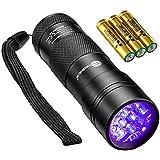 TaoTronics Black Light, UV Blacklight Flashlights, 12 LEDs 395nm, 3 Free AAA Batteries, Detector for Dry Pets Urine & Stains & Bed Bug