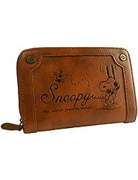 [スヌーピー] SNOOPY 財布 レディース 二つ折り財布 ファスナー ヴィンテージ 型押し 刻印 シック カード入れ 小銭入れあり ジャバラ 女性用