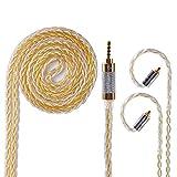 TRX4791 mmcx リケーブル 高音質 mmcx 2.5mm ケーブル 8芯 銀メッキ線と高純度銅線のミックス アップグレードケーブル バランス 2.5mm 4極 ケーブル mmcx 最高峰の音質 バランス接続 ケーブル 高級交換用ケーブル イヤホン ケーブル HURE 846 535 215 315 425 UE900 W10 W20 W30 W40 W50 W60 HA-FX850 HA-FX1100 XBA-Z5 XBA-A3 XBA-A2 XBA-H3 XBA-H2 YINYOO PRO HQ5 HQ6 HQ8 HQ10 MAGAOSI K5 K4 K3 YINYOO H5 LZ A4 A5 VT等に対応 Yinyoo (mmcx・2.5mm・金)