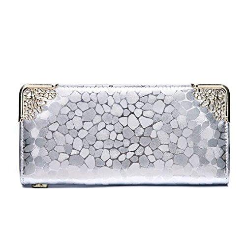 (Generic) 高品質レーディス多機能ファスナー式女性用ファション長財布 7色選べ (銀色)