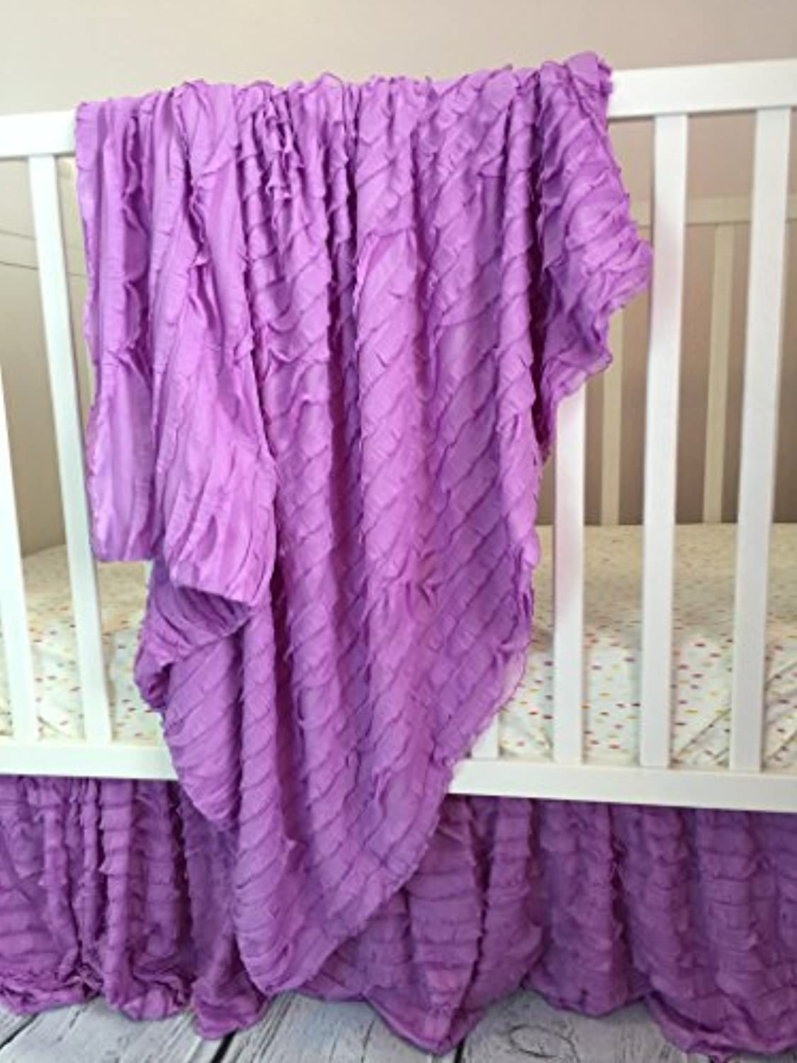 Ruffle Baby Blanket for Baby Girl 43 Lilac Purple - Great Swaddling, Crib, and Receiving Blanket by A Vision to Remember
