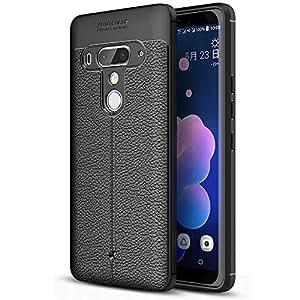 【FINON】 スマホケース HTC U12+ / U12 Plus / U12 プラス 専用 ケース カバー 【 レザーデザイン モデル (素材/TPU) 】 指紋防止 薄型 軽量 耐衝撃 簡易脱着 ソフトケース 衝撃分散 パターン カラー:ブラック