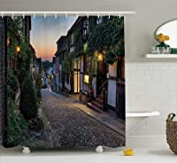 (180cm W By 190cm L, Multi 25) - Ambesonne Wanderlust Decor Collection, Nighttime On The Cobbles At Mermaid Street In East Sussex Cottages Houses Picture, Polyester Fabric Bathroom Shower Curtain, 190cm Long, Green White