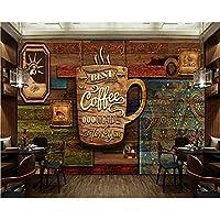 Ljjlm 注文の食料品店の壁紙、木パターンのコーヒー、レストランのカフェホテルの背景の壁ポリ塩化ビニールの壁紙のための3Dレトロの壁画-160X120CM