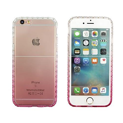 Youchan(ヨウチャン) アイフォン ケース キラキラ グラデーション ラインストーン クリア 透明 スケルトン iPhone6 iPhone6s iPhone6Plus iPhone6sPlus 携帯ケース ソフト 薄型 カバー スマホ 携帯電話 グッズ 小物 (iPhone6Plus/6sPlus, ピンク)