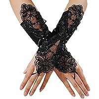 Bullidea Fingerless Gloves Lace Bride Wedding Party Gloves Fancy Dress Short Lace Gloves (Black)