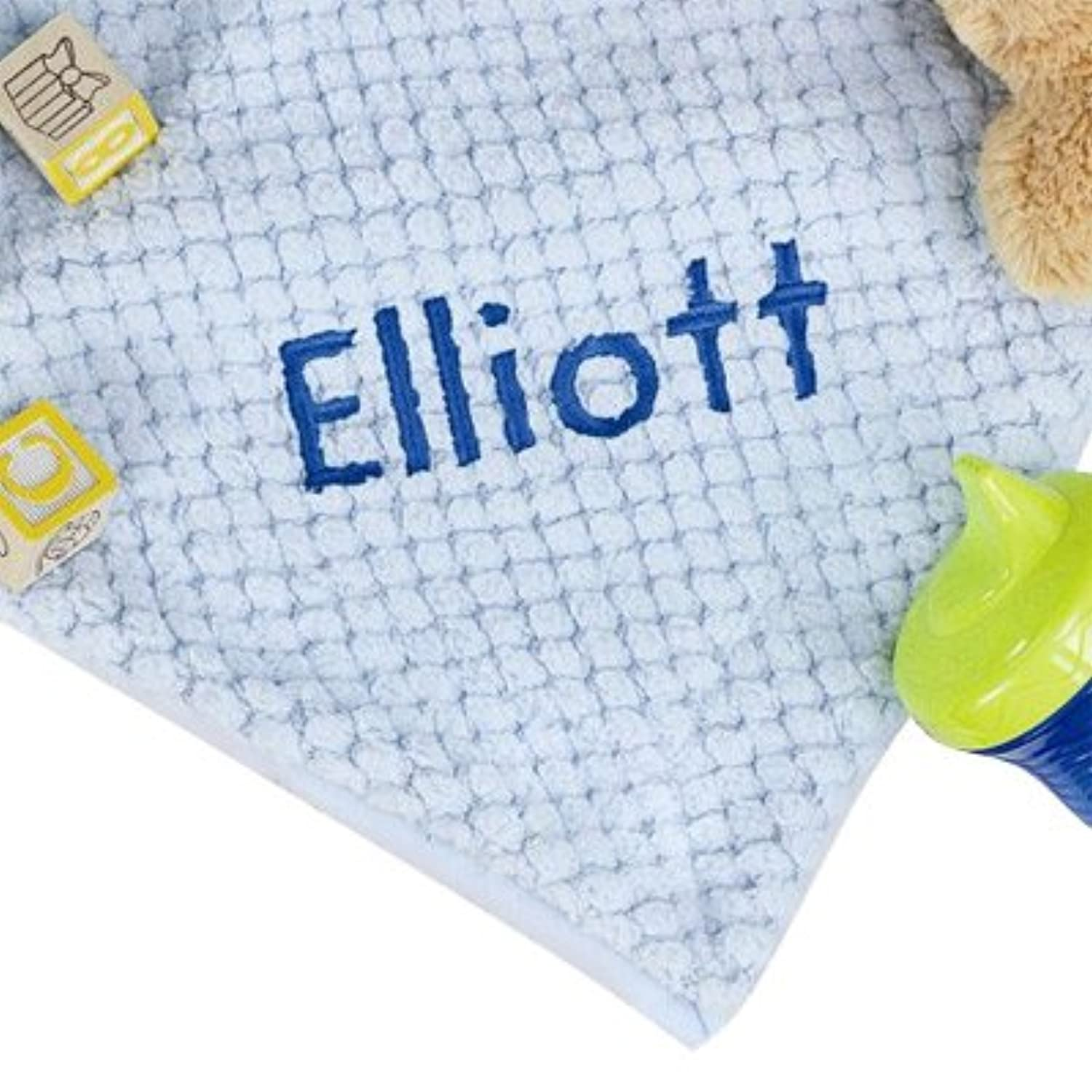 Personalized Blue Baby Blanket, 30 x 40, Soft Fleece, Blue Embroidery by GiftsForYouNow
