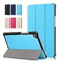 【E-COAST】Huawei MediaPad M5 8.4(SHT-AL09/SHT-W09)専用ケース 保護カバー スタンド機能付き 三つ折り オートスリープ対応 超軽量 マグネット内蔵 液晶保護フィルム付 (ブルー)