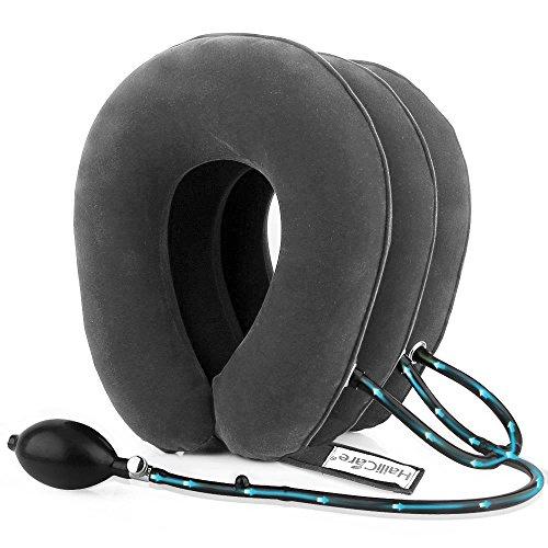 HailiCare エアーネックストレッチャー 首サポーター 頸椎牽引装置 三つ叉ポンプ式 高級スエード 軽量 首こり解消 三色選択可能 (グレー)