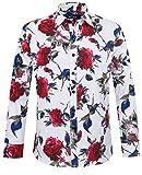 APTRO(アプトロ)花柄シャツ シャツ 長袖 メンズ ワイシャツ ブロード 春シャツ 秋 フロラル コットン スリム 兄貴系 上質仕様 大きい花柄 チョイワル系 アメカジ アロハシャツ #925 Xl