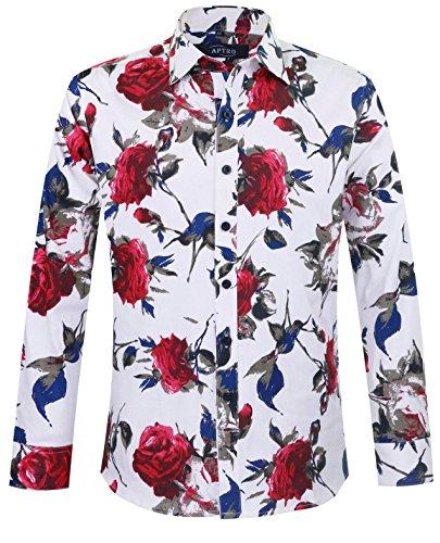 APTRO(アプトロ)花柄シャツ シャツ 長袖 メンズ ワイシャツ ブロード 春シャツ 秋 フロラル コットン スリム 兄貴系 上質仕様 大きい花柄 チョイワル系 アメカジ アロハシャツ #925 m