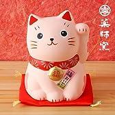 薬師窯 招き猫錦彩福おいで招き猫中・桃猫【恋愛成就】(7521)
