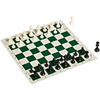 King Best Value Tournament Chess Set - 90% Plastic Filled Chess Pieces and Green Roll-up Vinyl Chess Board with BLACK