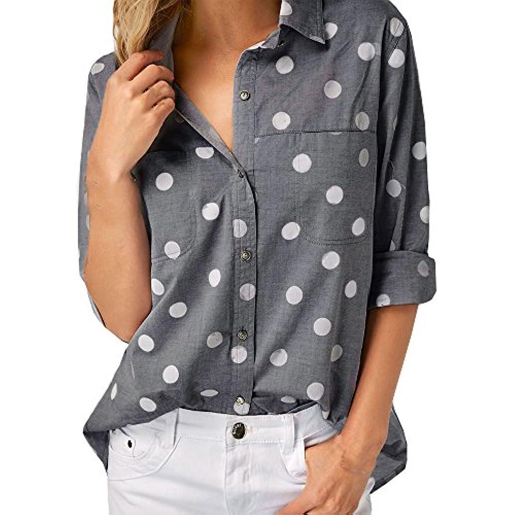 SakuraBest Women Work Office Dot Print Spring Autumn Long Sleeve Button Down Shirt Blouse Top