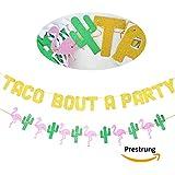Taco Bout A Party グリッターバナーサイン サボテンフラミンゴガーランド メキシカンフィエスタテーマ 記念日 ブライダルシャワー 婚約 結婚式 誕生日パーティー デコレーション
