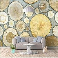 Xxzzdn カスタム壁画3D立体北欧の新鮮な木目年輪背景壁厚壁紙壁画-280X200Cm