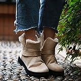 レディース 靴 HKUN ブーツ レディース ムートン ブーツ 裏ボア 防寒 シューズ レースアップ ムートンブーティー,ベージュ,23cm