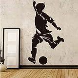 Wuyyii 58×33センチ左足ストライカーサッカー壁紙リビングルーム装飾サッカースポーツウォールステッカー家の装飾男の子子供部屋