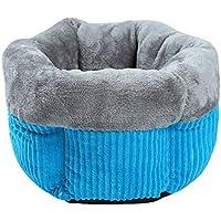 Mofech ペット ベッド 洗える 犬 猫用 ペットハウス 寝袋 ふわふわ キャットベッド ソファー 寒さ対策 保温防寒 暖かい休憩所 秋 冬 ぐっすり眠れる モコモコ かわいい 六角型 ブルー