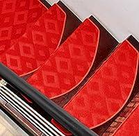 EALLIFE 階段マット 滑りズレ防止 折り曲げ付 防音 滑り止め モダン調 おしゃれ (15枚入 (赤格子)