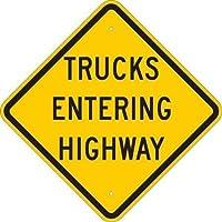 Brady 124602 Traffic Control Sign Legend Trucks Entering Highway 24 Height 24 Width Black on Yellow [並行輸入品]