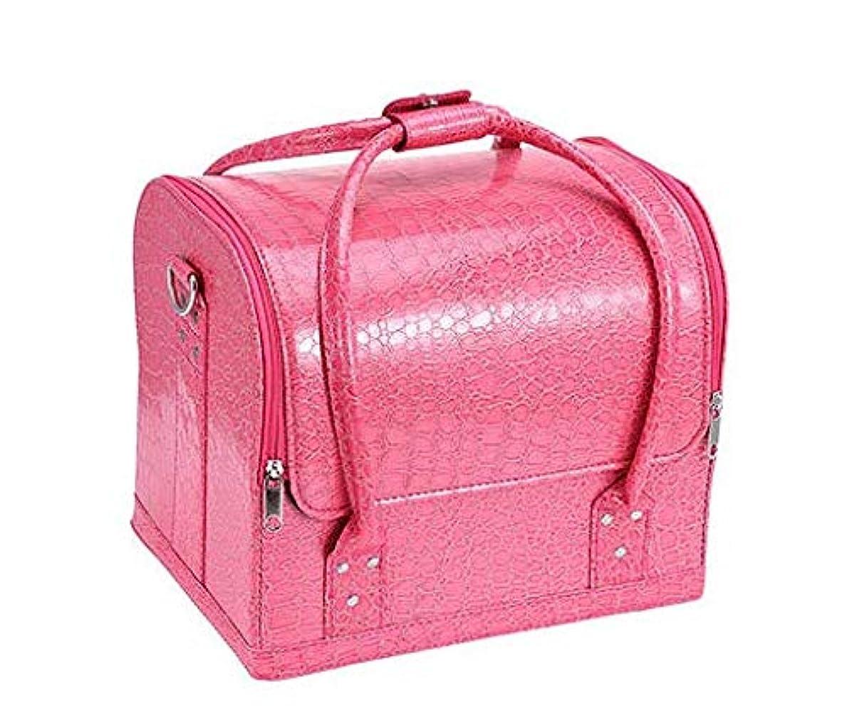 解く小間恐怖持ち運びできる メイクボックス 大容量 取っ手付き コスメボックス 化粧品収納ボックス 収納ケース 小物入れ (ピンク?クロコ型押し)