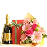 ワイン、スイーツとお花のギフト フランスのスパークリングワイン「キュヴェ・トラディション」 375ml、オレンジ・チョコレートケーキ、ピンク系のお花のアレンジメント