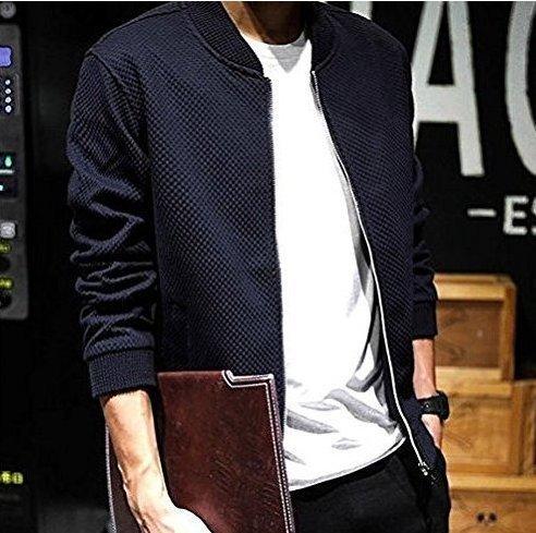 (フォセース)Fosys メンズ 高級ブロック 柄 スリム ジャケット カジュアル ストリート スタジャン 風 ブルゾン ジャンパー (M, ブラック)